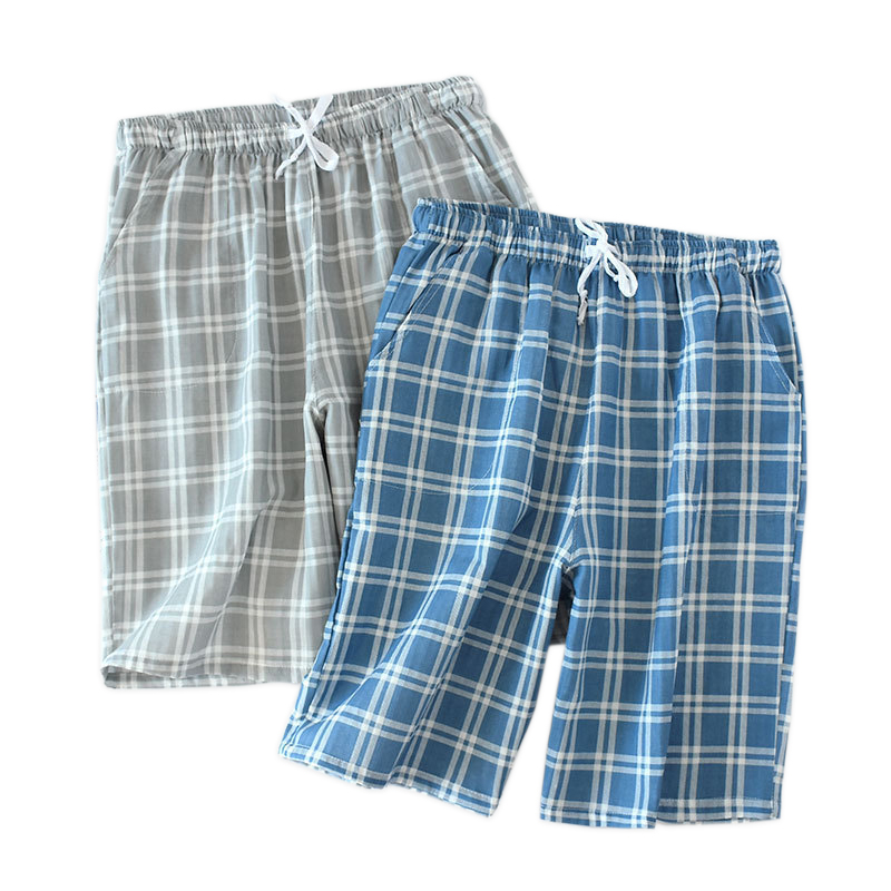 Summer Plaid Short Sleep Bottoms Men Sleepwear Pants Soft 100% Cotton Home Shorts Men Casual Pajamas Pants For Male