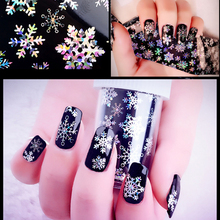 New 1pcs 120cm*4cm Christmas Snowflake Holographic Nail Sticker Creative Nail Foils Transfer Sticker Decal Paper DIY Decorations
