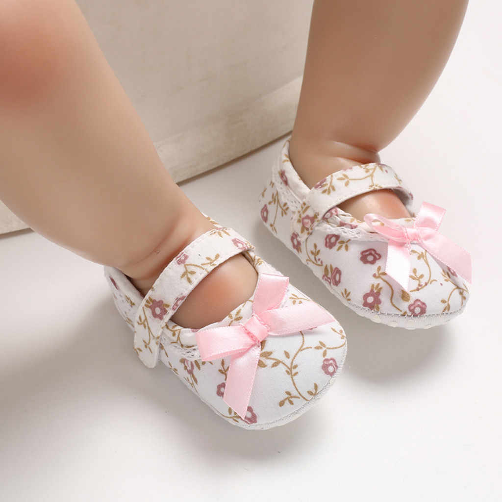 Casual Toddler Shoes Fashion Korean Style New Infant Baby Girl Soft Sole Bow Printing Cute Shoes soulier new fille 2019