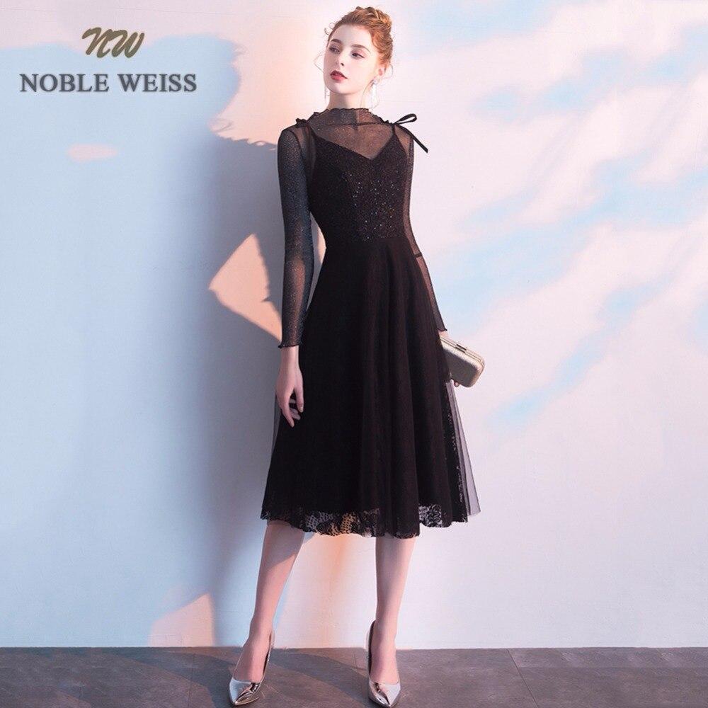 Robes de bal 2019 manches longues courte robe de bal balo elbiseleri sexy noir robes de bal voir à travers le dos une ligne