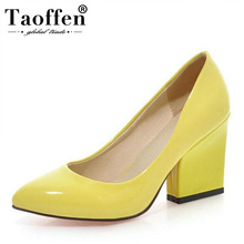 Taoffen Dropshipping Women'S Thick High Heels Pumps Shoes Women Slip On Office Wedding Pointed Toe 5 Colors Footwear Size 33-43 taoffen women thick high heel shoes women patchwork bowknot heart buckle heels pumps ladies office daily footwear size 28 43