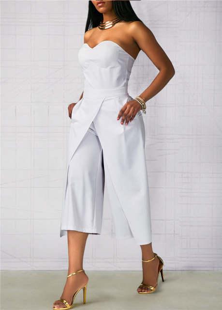 d7e537d9a87b Online Shop Wide Leg Jumpsuit Rompers Women Off the Shoulder Split Front Dressy  Loose Long Pants Black White Strapless Jumpsuits for Ladies | Aliexpress ...