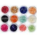 12 Pcs Colors Glitter Crushed Shell Bead Powde Nail Art UV Gel Acrylic 3D Tips