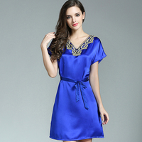 Real silk female sleeping robe short sleeves dress sexy women home wear v neck with lace decoration loose home clothes