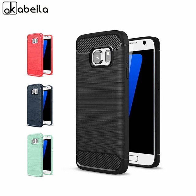 AKABEILA Case Cover For Samsung Galaxy S7 G930F G930FD G930W8 Case G930 G9300 SM-G930A SM-G930R4 Carbon Fiber Bag Soft TPU Cover