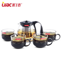 High grade Heat resistant Glass Filter 1 Teapot + 4 Tea Cup Teapot Pu erh Kungfu Teaset