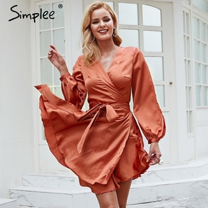 Image 3 - Simplee Ruches v hals sash vrouwen jurk Flare mouw hoge taille sexy satijnen jurk Herfst winter rode wrap casual dress 2018