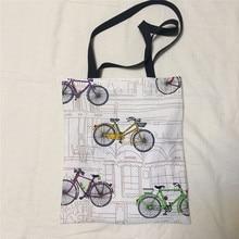 YILE Новая уникальная холщовая Экологичная для шоппинга с ручкой сумка на плечо яркий велосипедный черный Ручка L8516-2