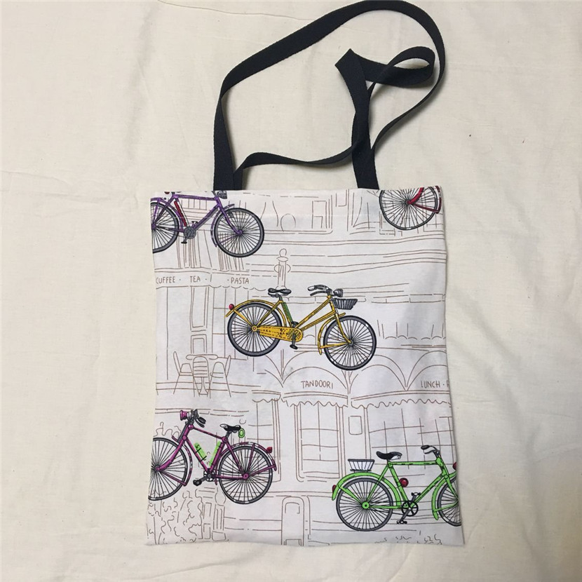 Unique Canvas Eco Shopping Tote Shoulder Bag Colorful Bicycle Black Handle L8516-2