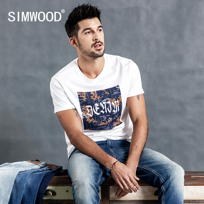 SIMWOOD 2019 Men   t     shirts   Summer Fashion Slim Casual Plants Print Tops Brand Modis Male O-Neck Short Sleeve Tees camiseta 190065