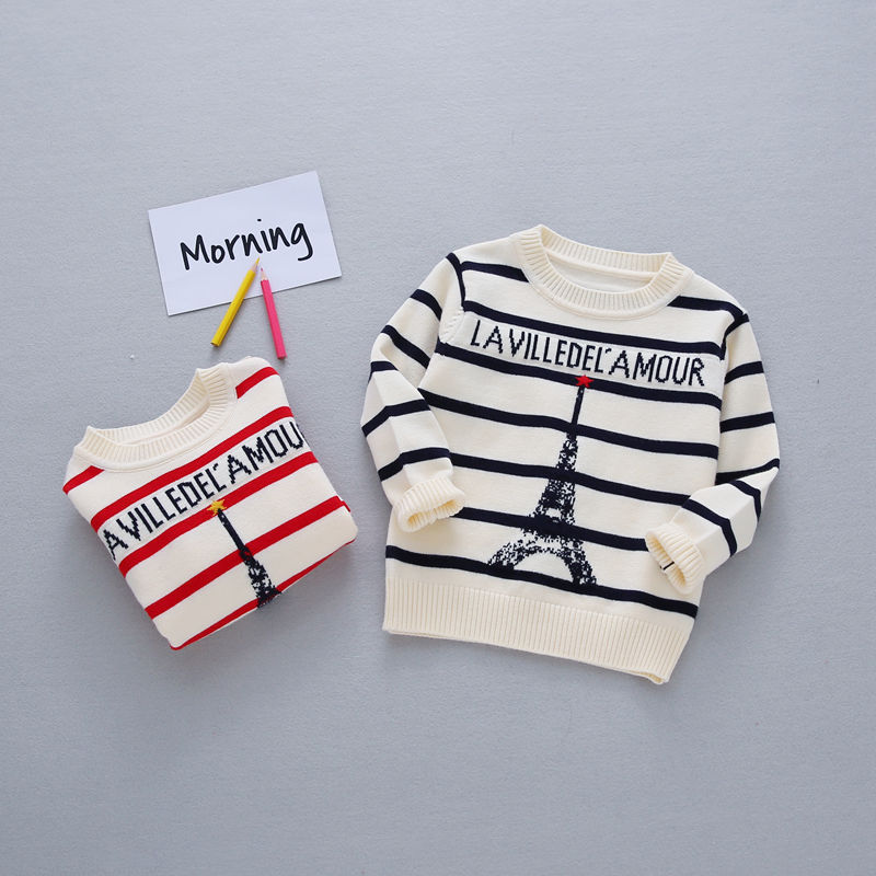 Autumn Preppy Chic Girls Boys Kids Baby Infants Long Sleeve Letter Strip Tower Outwear Pullover Knitwear Sweater Camisola MT1276