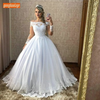 Sumptuous White Ball Gown Wedding Dresses Long Sleeve 2019 Lace Appliques Bride Dress Zipper Back Ivory Wedding Gowns Customized