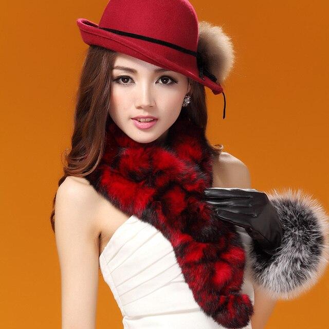 Handmade Women's Genuine Real Knitted Rabbit Fur Scarves Lady Warm Mufflers Neckwarmer VF0507