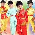 Crianças dança roupas meninos e meninas cintura tambor Kung Fu serviço estágio roupas desempenho atacado ternos de artes marciais
