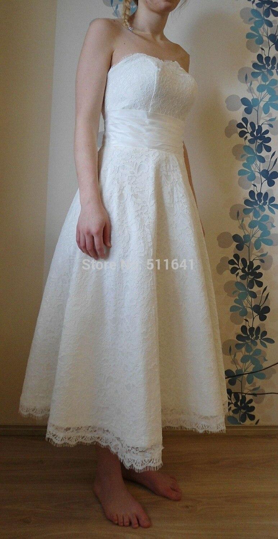 Robes Robe de soirée 2016 nouveau Design livraison gratuite une ligne thé longueur chérie blanc ivoire dentelle plage robes de mariée