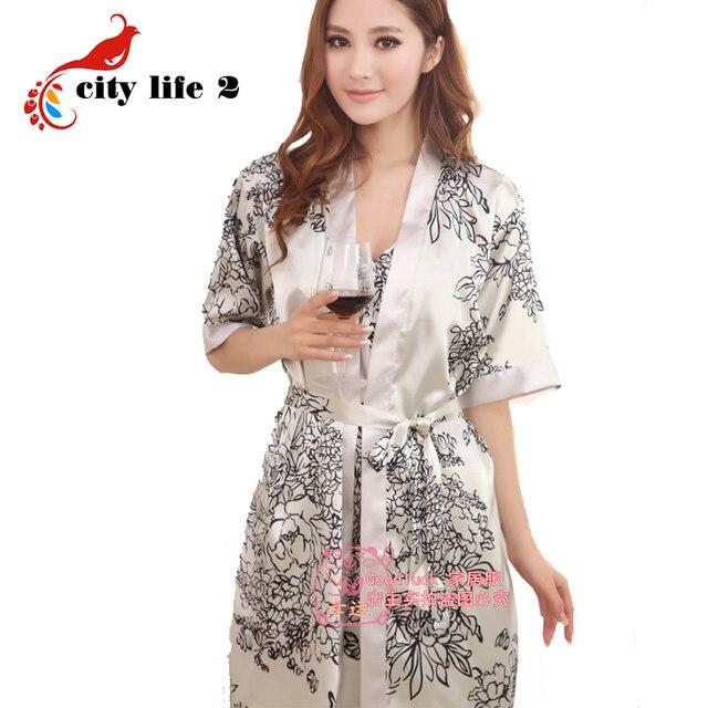 5d15f5fa968 Женщина летние шелковые пижамы сексуальные двух частей ремень ночная  рубашка старинные халат