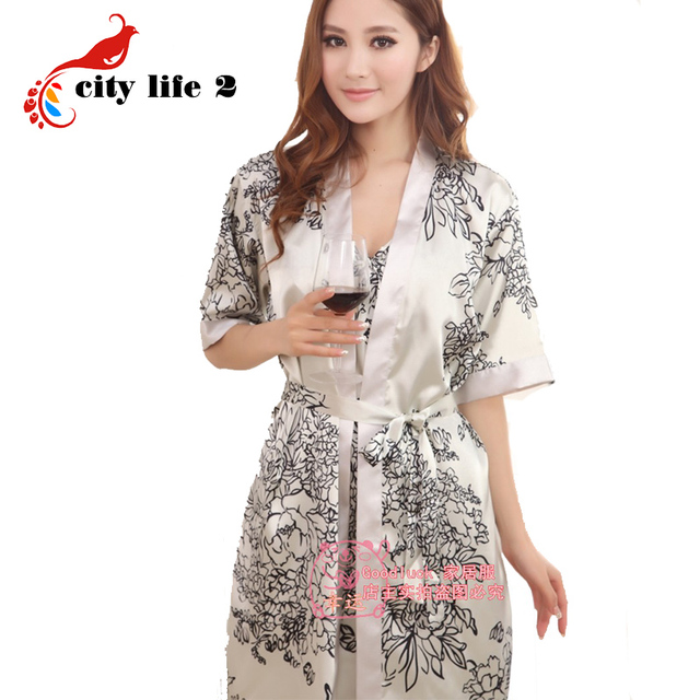 Female Summer Silk Pajamas Sexy Two-Piece Strap Nightgown Vintage Bathrobe