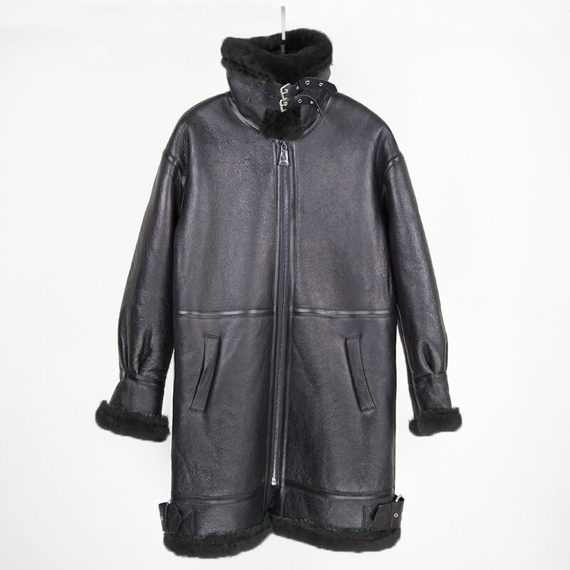 2019 Double faced Fur Outerwear Winter Jacket Women Long Parka Genuine Leather Merino Sheep Real Fur
