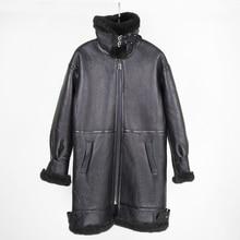 2020 abrigo de piel de doble cara, chaqueta de invierno para mujer, Parka larga de piel auténtica de oveja Merino, abrigo de piel Real, ropa de calle de talla grande