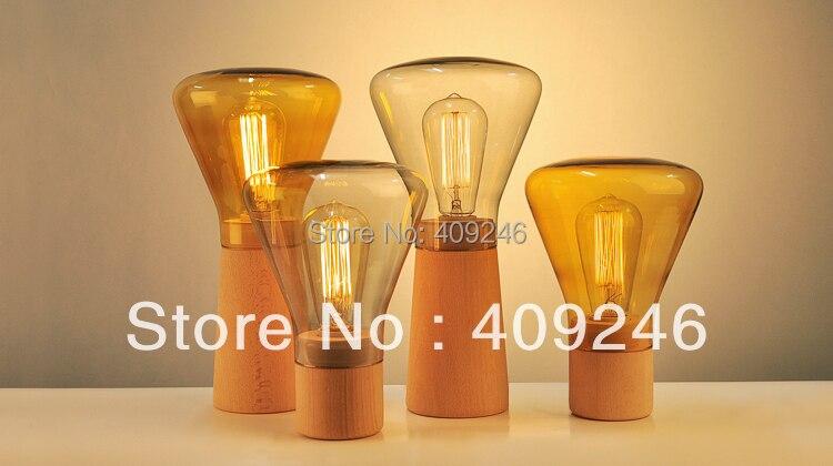 Loft Vintage Industrial Glass Table Light Edison Desk Accent Wood Lamp Cafe Weis