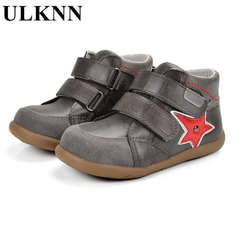 ULKNN Boys Casual Sport Shoes  Soft Sneakers Kids Hook & Loop Child Leather Running Children Shoe 22-27