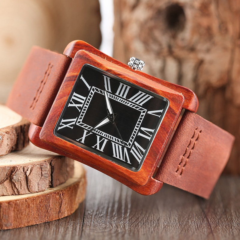 Rectangle Dial Wooden Watches for Men Natural Wood Bamboo Analog Display Genuine Leather Band Quartz Clocks Male Christmas Gifts 2020 2019 (63)
