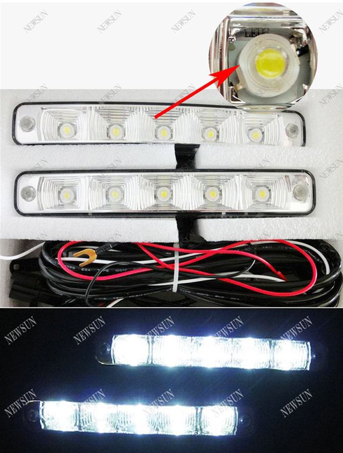 цена на  2 sets/lot White Color Car LED DRL Daytime Running Light 5-Led daylight Head Lamp auto fog driving light Universal fit