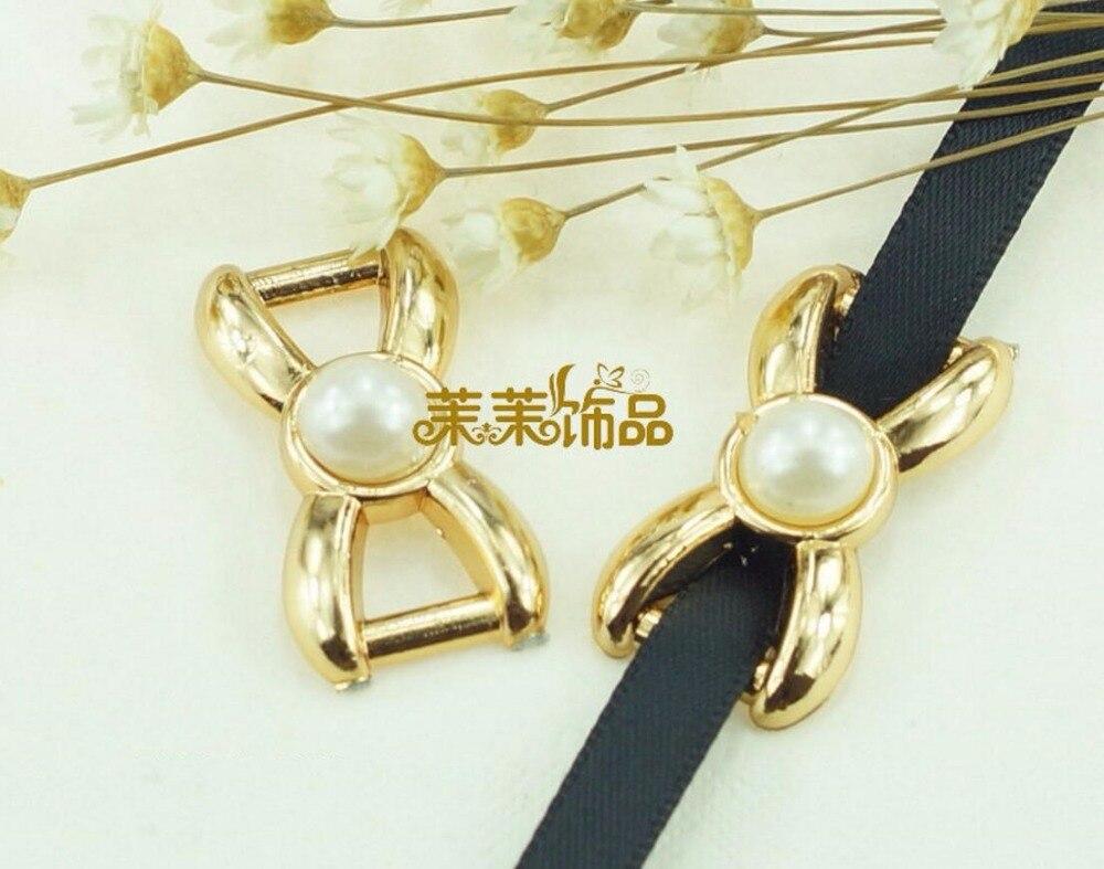 100pcs 30*15mm Bow Pearl Buckles Invitation Ribbon Slider For Wedding Supply Sewing Headwear Decoration Craft DIY