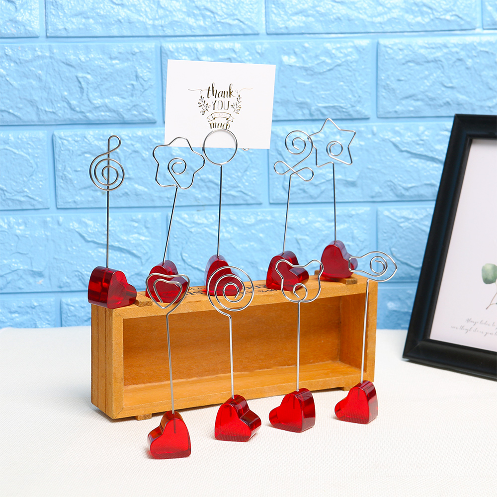 Gift Home Decor Note Stand Wedding Ornaments Photo Clips Wooden Card Holders