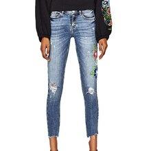 2017 летние женские брюки случайные тонкие джинсы девушку с низкой талией джинсы вышитые джинсовые брюки носить женская одежда