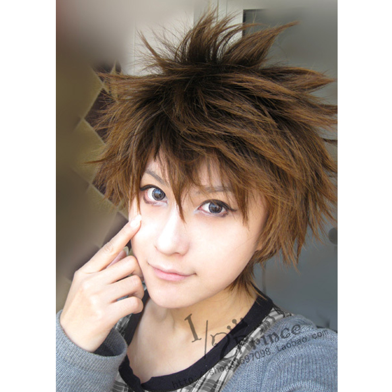 Katekyo Hitman Reborn Sawada Tsunayoshi Short Brown Mix Fluffy Synthetic Hair Cosplay Wig + Wig Cap