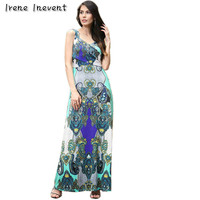 Irene Inevent Womens Summer Maxi Dresses New Arrival Ladies Boho Dress Sleeveless Blue V Neck Floral
