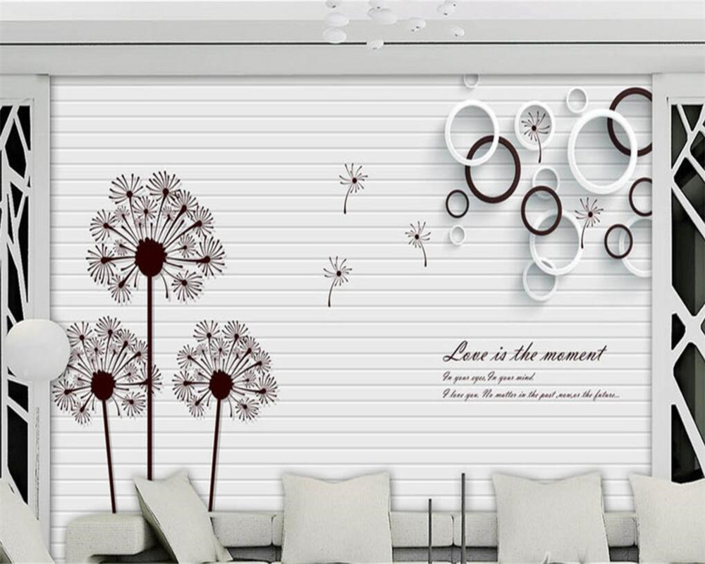 beibehang Modern simple wallpaper dandelion circle black and white English 3D stereo TV background wall wallpaper for walls 3 d beibehang wallpaper simple and lovely