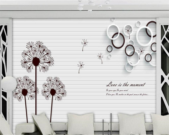 Beibehang Modern Simple Wallpaper Dandelion Circle Black And White English 3D Stereo TV Background Wall