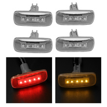 цены 4PCS Dually Cab Bed Fender 5 LED Side Marker Lights For 2010-2017 Dodge Ram 3500 Clear Lens/ Amber and Red Light