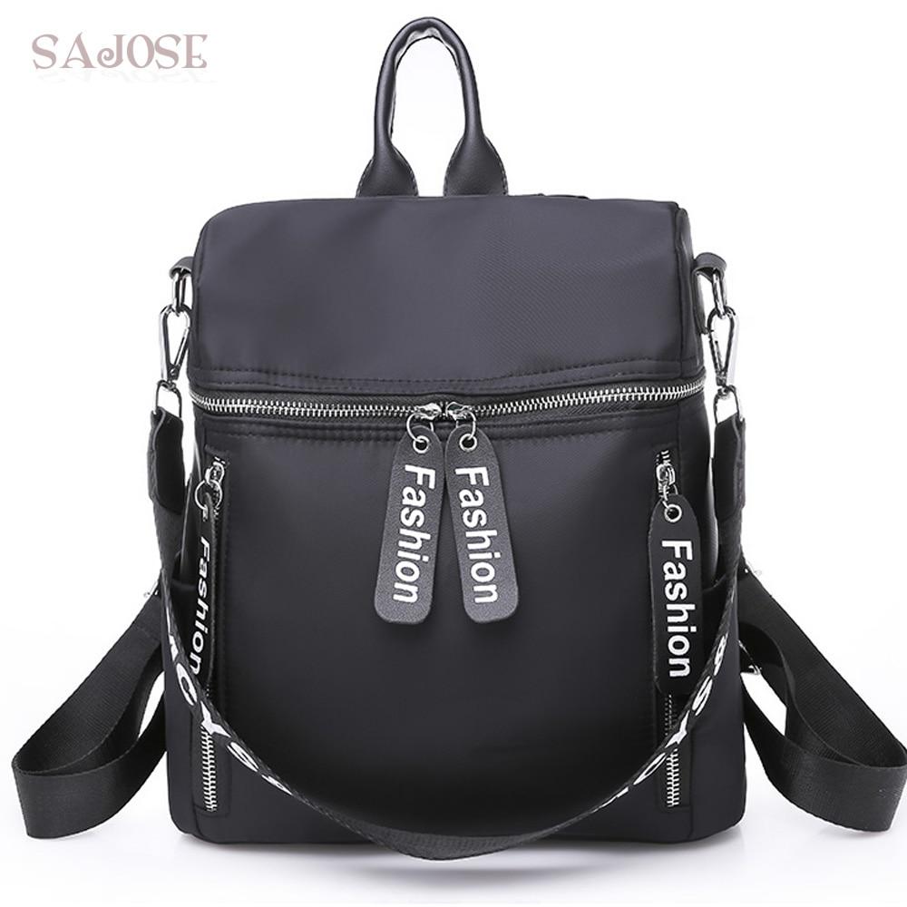 5793b920bdd8 US $16.38 39% OFF|Women Nylon Backpacks Fashion Medium Student Black Casual  Simple Backpack For Teenage Girls Shoulder School Bag Drop Shipping-in ...