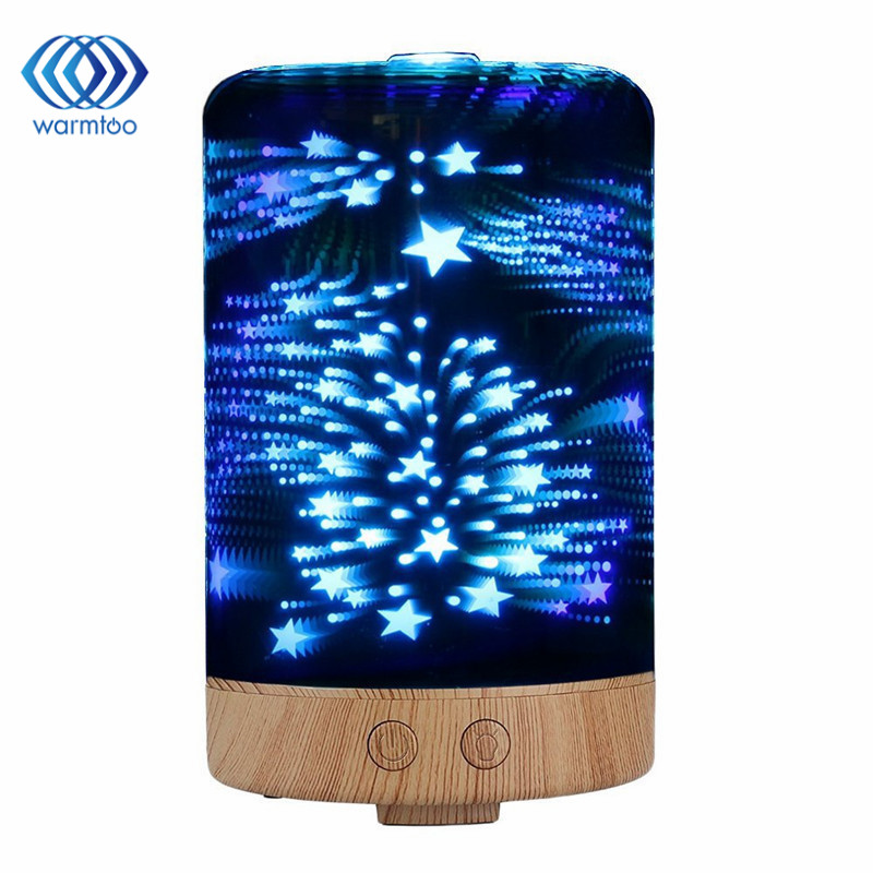 100ML 3D Light Essential Oil Aroma Diffuser Ultra-quiet Portable Ultrasonic Humidifier Aromatherapy 12W 100-240V new humidifier aromatherapy essential oil ultrasonic 70ml 100 240v 20 30 square meters 9 5 9 5 16 5cm bud shape
