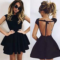 2018 New Summer Fashion Black Backless O neck Short sleeve Sexy Wholesale Celebrity Party Ball Gown Mini Bandage Dress Clubwears