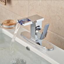 Палуба гора латуни водопад ванной горячей и холодной воды кран хромированная отделка + отверстия крышка