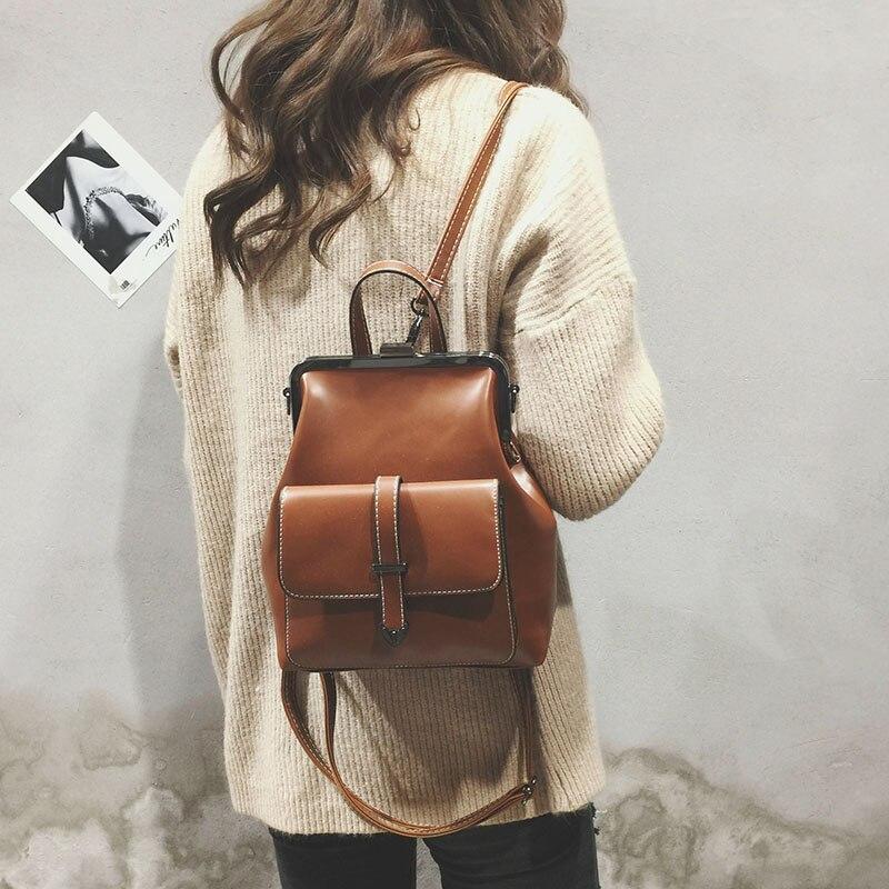 Izquierdo marca 2018 Retro Hasp a paquete de bolsas Mochila de cuero de la PU de las mujeres bolsas de la escuela para chicas adolescentes de lujo pequeño mochilas
