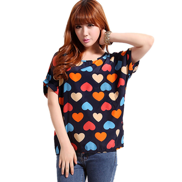 Chiffon T-Shirts Ladies Loose Short Sleeve Shirts Striped Heart Lip Tops Batwing Sleeve Sexy
