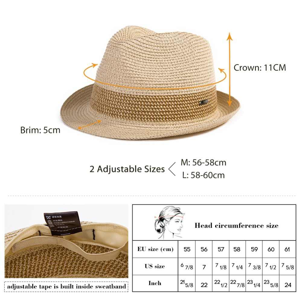 7340f818628 ... FANCET Summer Womens Mens Fedoras Straw Hats Short Brim Adjustable  Packable Soft Casual Trilby Panama Straw