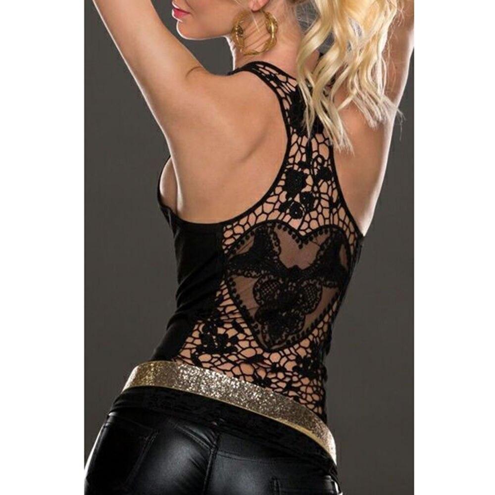 Женский летний топ-майка, пикантный кружевной жилет, ажурный топ-майка с вязанной крючком спинкой, черно-белая блузка без рукавов
