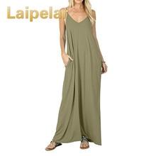 Laipelar Dress Maxi Summer Beach Clothes Casual Long Dresses Bohemian Backelss Spaghetti Strap