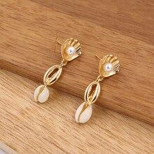 2019 Summer Sea Shell Earrings For Women Beach Cowrie Pearl Earring Gold Boho Earing  Jewelry pendientes largos