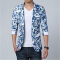 Plus Size 5XL  Sky Blue Camouflage Blazer Homens Men Suit Jacket Pattern Casual Designer Branded Royal Blue Blazer For Men