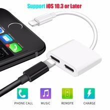 Anskp Duplo Adaptador de Áudio & Splitter para iphone 7/8 plus 2 em 1 Adaptador de fone de ouvido Música ou Ligar Carregador de Apoio iOS 10.3 ou posterior