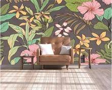 Купить с кэшбэком Beibehang Custom wallpaper stereo hand drawn Southeast Asian flowers modern abstract art wall painting living room 3D wallpaper