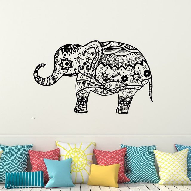 Elephant Wall Decal Vinyl Wall Sticker Yoga Decals Bohemian Bedding Vinilos  Paredes Boho Decor 3d Wall
