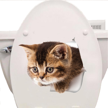 3D Cats Wall Sticker Hole View Toilet Stickers Bathroom Living Room Home Decor Animal Vinyl Decals Art cute Poster